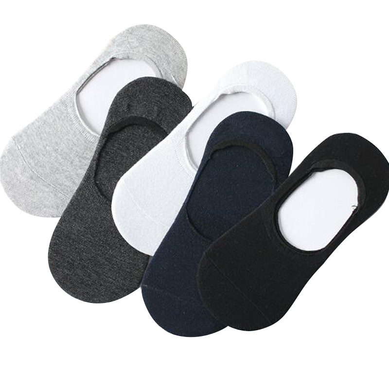 2 Pairs New Cotton Men Invisible Socks Men Socks Silicone Anti - Skid Pure Color  Fashion Unisex Women Men Cotton Short Socks