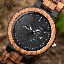 BOBO BIRD خشبية الرجال الساعات erkek كول ساتي كوارتز ساعة اليد الذكور عرض التاريخ والأسبوع الساعات في الهدايا صندوق خشبي دروبشيبينغ