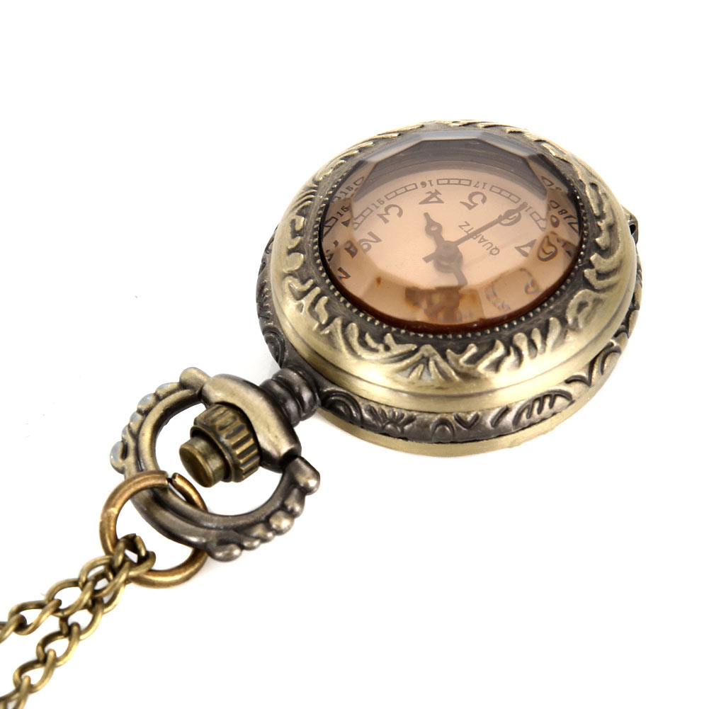 New Fashion Men Women Vintage Quartz Pocket Watch Alloy Glass Dome Necklace Pendant Unisex Sweater Chain Clock Gifts MV66