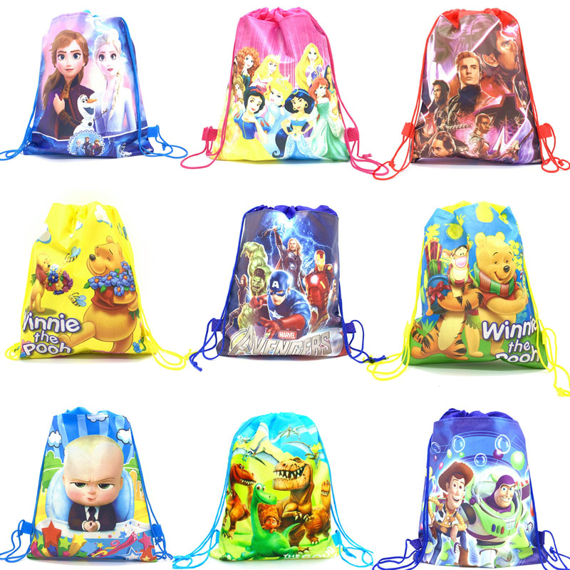 Disney Toy-Story Backpack Drawstring Non-Woven-Fabrics Avenger Winnie Princess Cartoon title=