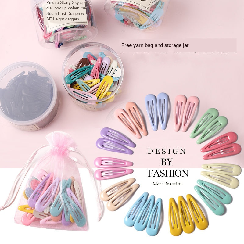 5CM 10/20/30/40/Set Girls Cute Candy Colorful Waterdrop Shape Sweet Hairpins Metal Barrettes Slid Clip Fashion Hair Accessorie Girl