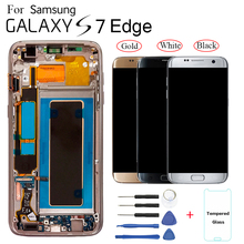 5.5 Amoled Display Voor Samsung S7 Edge Pantalla G935F G935FD G935W8 G9350 G935K G935V Lcd Lcd Met Frame Touch screen