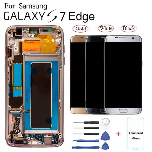 ЖК дисплей с рамкой, AMOLED экран 5,5 дюйма для SAMSUNG s7 edge, Pantalla G935F G935FD G935W8 G9350 G935K G935V