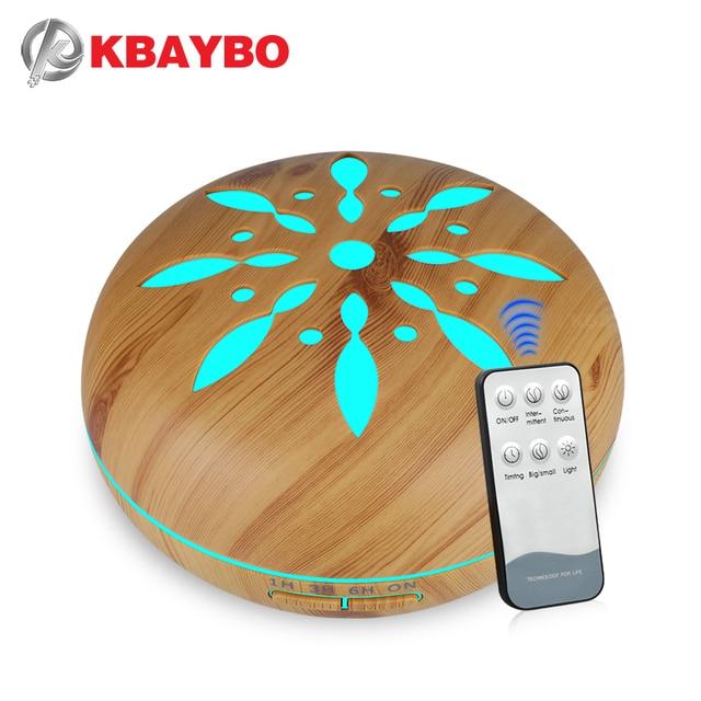 500ml חשמלי ארומה חיוני שמן מפזר עץ אולטרסאונד אוויר אדים מגניב ערפל יצרנית LEDLight Fogger ארומתרפיה עבור בית