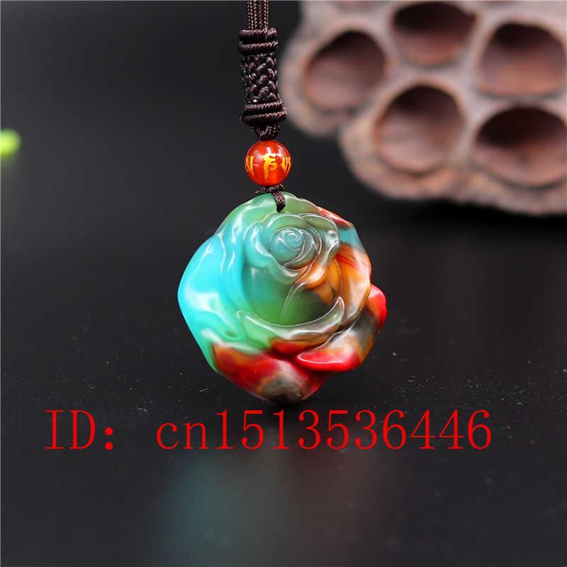 中国色のヒスイローズペンダント花のネックレスチャームジュエリーファッションアクセサリー彫アミュレットのギフト彼女