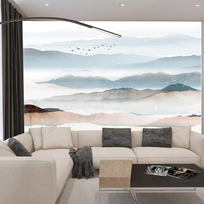 Large 3D Abstract Ink Landscape TV Background Film And Television Wall Cloth Wallpaper Stereo Modern Minimalist Bedroom 5D Mural