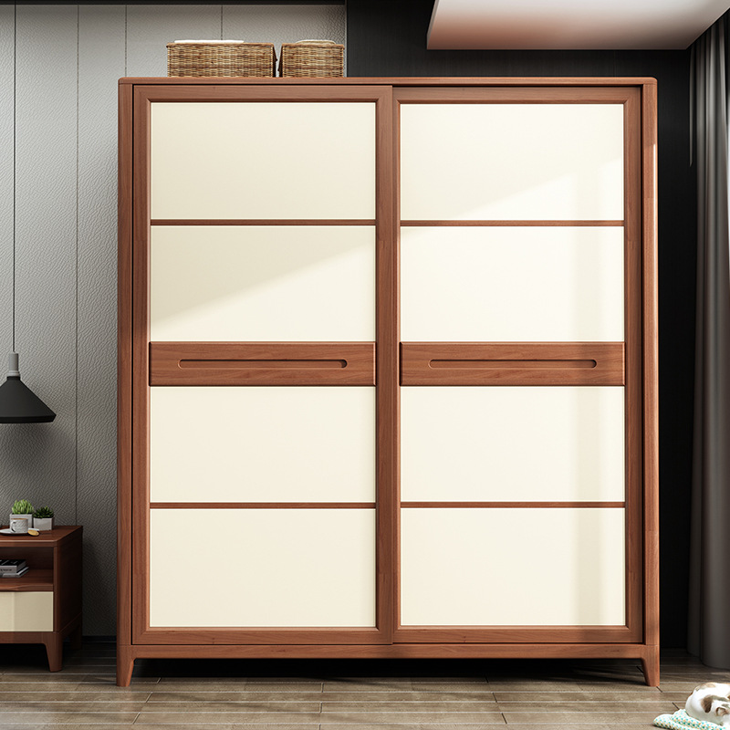Northern European-Style Wardrobe Minimalist Modern Solid Wood Wardrobe Sliding Door Logs Bedroom Whole Wardrobe All Solid Wood W