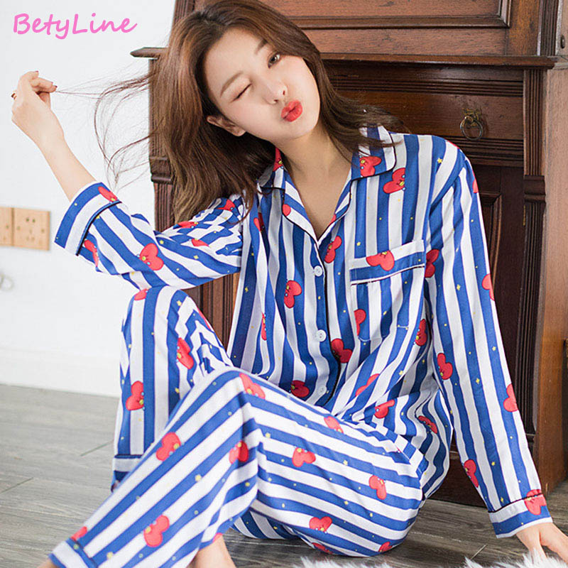 Betyline New Cartoon Sleepwear Heart Stripe Print Pajamas Sets Women Harajuku Pajamas Women Long Sleeve Shirt Nightwear Set