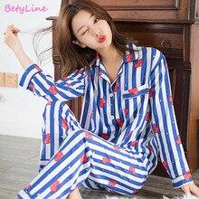 Betyline New Cartoon Sleepwear Heart Stripe Print Pajamas Sets