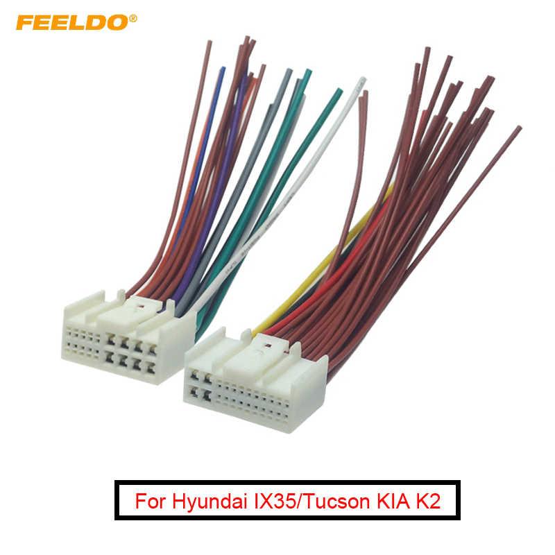FEELDO 1 זוג רכב אודיו רדיו ISO כוח כבל מתאם עבור יונדאי IX35/טוסון KIA K2/K3/ k5/Sportage R כוח חוט רתם