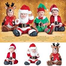 Костюм На Рождество и Хэллоуин для маленьких мальчиков и девочек; маскарадная одежда с рисунком Санта-Клауса и оленя; комплект зимней одежды; одежда для малышей