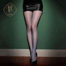 Aurora série aberta virilha livre oleosa brilhante sedoso ultra-fino sexy meias meias de cintura alta feminino