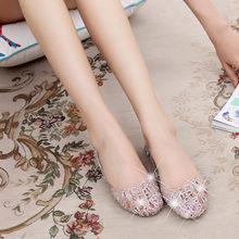 Sparkling Jelly Ladies Sandals Summer Casual Shoes Shiny Baotou High Elastic Shoes Woman Flats Chaussons Femme Beach Sandal(China)