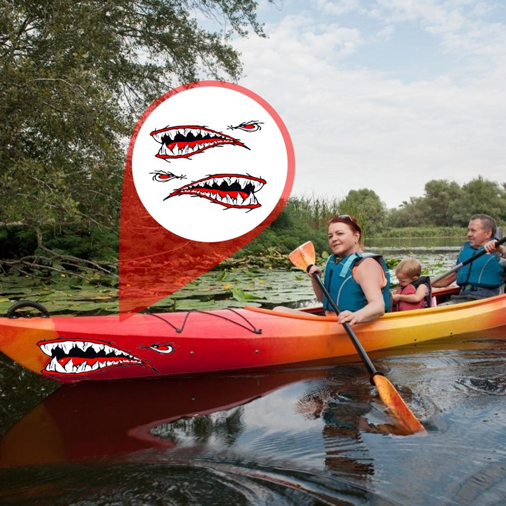 2pcs Waterproof 3D Shark Teeth Mouth Vinyl Decal Stickers for Kayak Canoe Boat 38CM*13CM Car Stickers Dinghy Boat