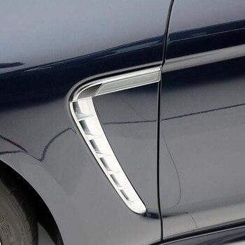 Chrome ABS Exterior Both Side Leaf Plate Air Outlet Sequins Decoration Cover Trim 2pcs For Porsche Panamera 2010-2016 1