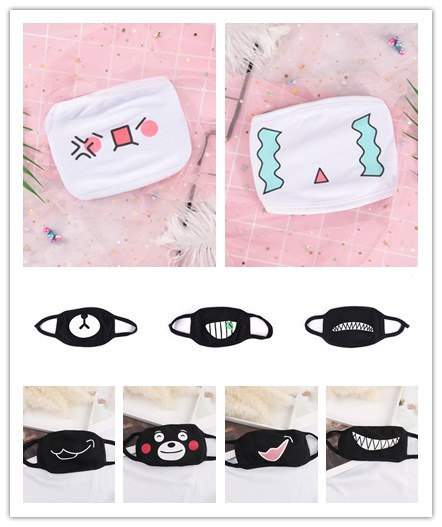 Women Men Cute Cartoon Mask Mouth Face Muffle Emotiction Masque Kpop Masks White Black Anti-Dust Cotton Mouth Mask New