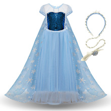 Girl Elsa Elza Princess Dresses Kids Summer Sequined Costume Children Vestidos Halloween Birthday Party Cosplay Dress summer girl dress elsa dress set baby kids cosplay party dress princess anna dresses elza vestidos infants for children costumes