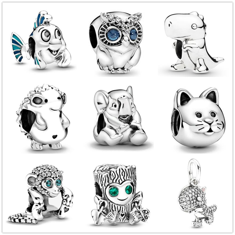 2020 New Sparkling Owl Mermaid Cat Bead fit Original Pandora charms silver 925 Bracelet trinket jewelry for women DIY making(China)