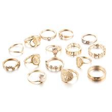 Creative Vintage Ring Set Beauty Head Gold Coin Cross Pattern Diamond Love Ring 15Pcs Vintage Ring Set(China)