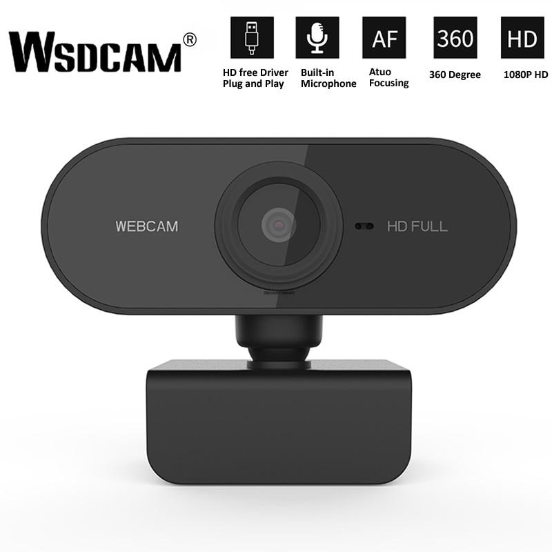 Веб-камера HD 1080P, мини-камера для компьютера, ПК, веб-камера с микрофоном, вращающиеся камеры для прямой трансляции, видеозвонков, работы Конф...