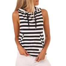 Black White Striped Tunic Women T shirt 2019 New Summer korean harajuku vogue top Sleeveless friends Tee Hoodies Sexy streetwear