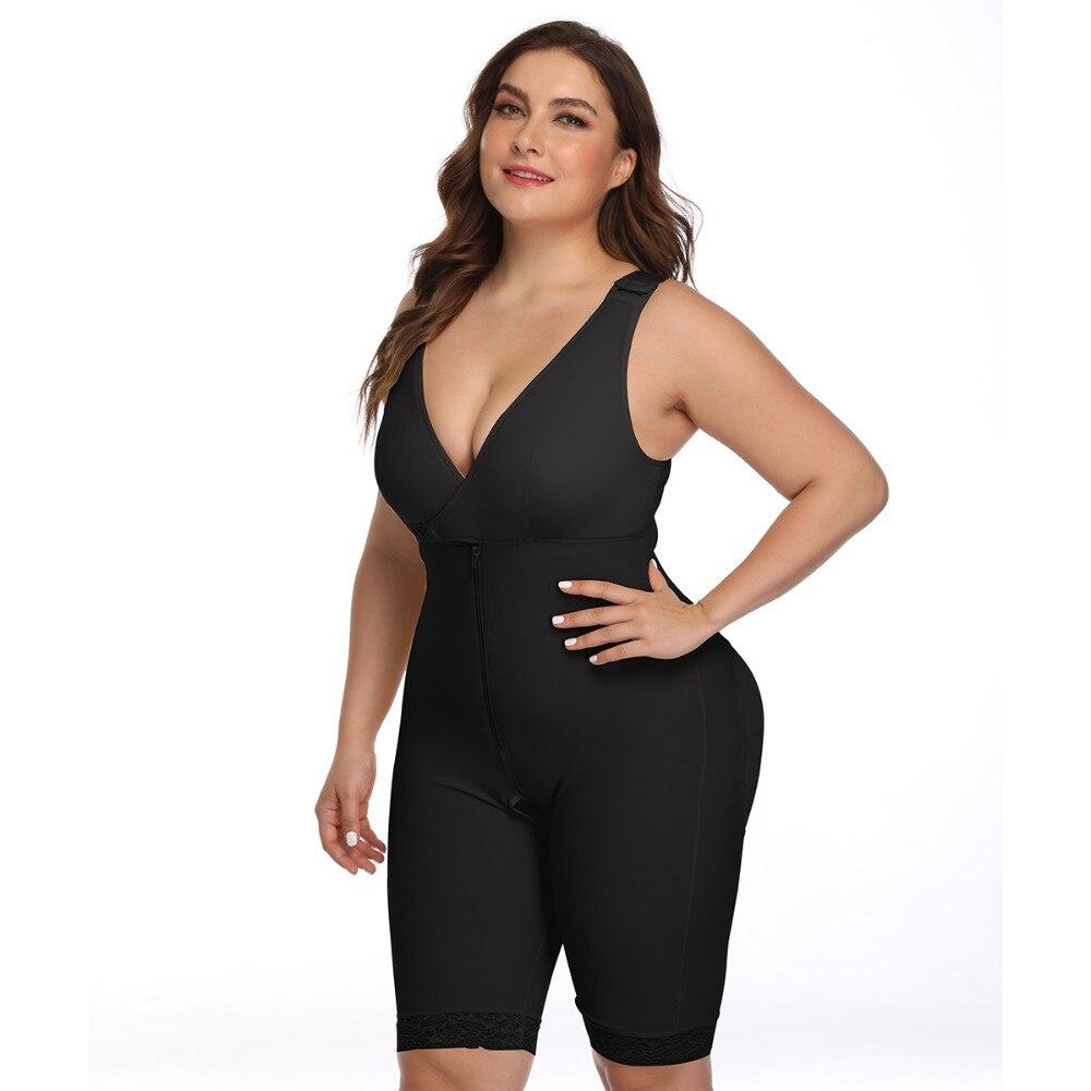 Women's Open Crotch Body Shaper Tummy Control Underwear Black Beige Plus Size 6XL Bodysuit Deep V Overbust Adjustable Shapewear (22)