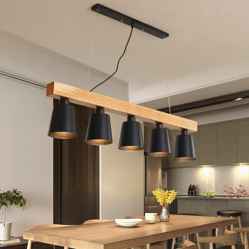 Lampe de table à manger créative nordique 3/5 tête E27 bar d'étude balcon lustre en bois bois à manger restaurant lustre lumière