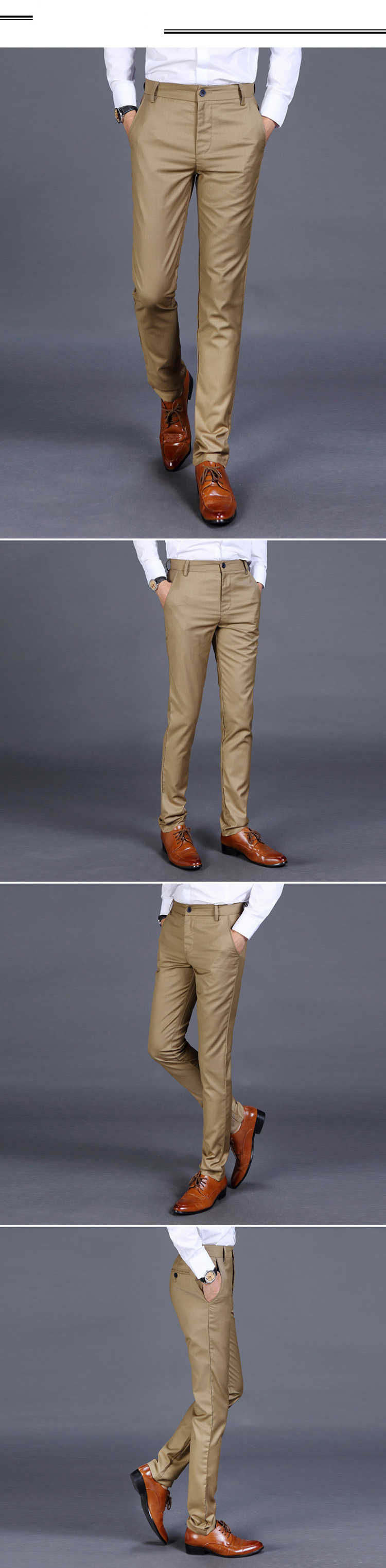 H87c75bc07bfc49509c1c39703257805aS HCXY 2019 Summer Men's Smart Casual Pants Men Slim Straight Suit Pants Male Trousers Thin Smooth fabric Solid classic trousers