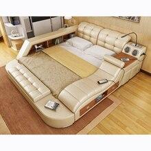 CBMMART Массажная двуспальная кровать из натуральной кожи с хранения, Сейф, колонки, стол