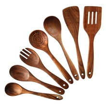 Cookware Teak Wooden Non-Stick Kitchen And Spatula for Home 7pcs Spoons