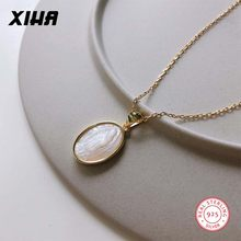 Geometric Oval Virgin Mary Puka Sea Shell Necklaces Pendants for Women 925 Sterling Silver Chain Charm Necklace Fashion Jewelry(China)