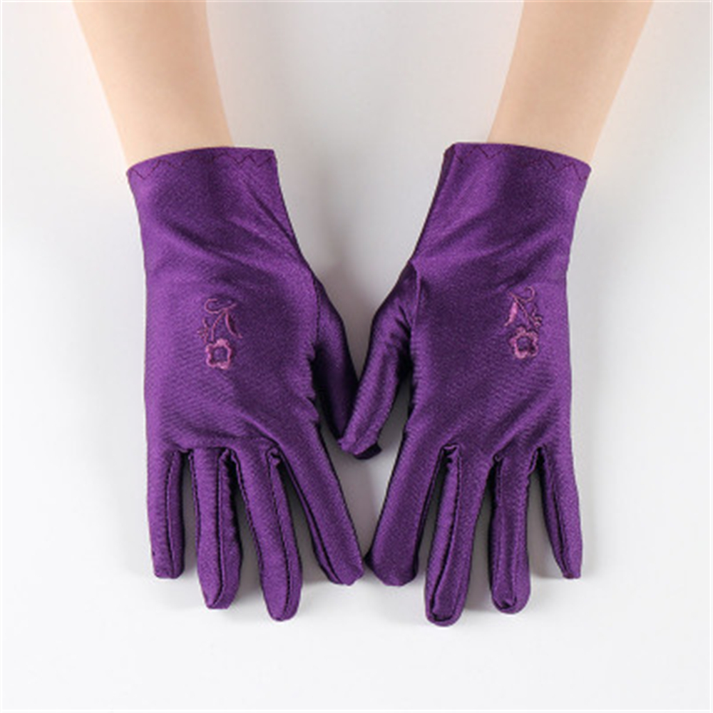 Spring And Summer New Ladies Pure Color Spandex Sun Protection Gloves, Flower Embroidery Etiquette Show Driving Gloves  JT013