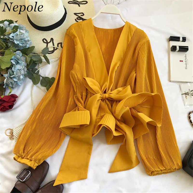 Neploe Ruched Pleated Ruffles Blusa Sashes Vintage Grace Women Blouse 2019 Spring Autumn New Fashion Elegant V-Neck Shirt 69273