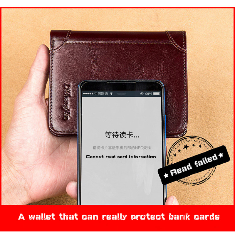 Men's Wallet High Quality  Anti-theft Brush Genuine Leather Wallets Short Man Purse Classic Retro Wallet for Men