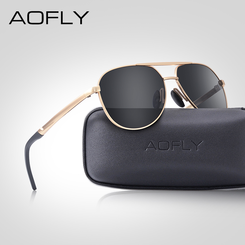 AOFLY BRAND DESIGN Men Classic Pilot Sunglasses Aviation Frame Polarized Sun glasses For Driving UV400 Male EYEWEAR AF8188