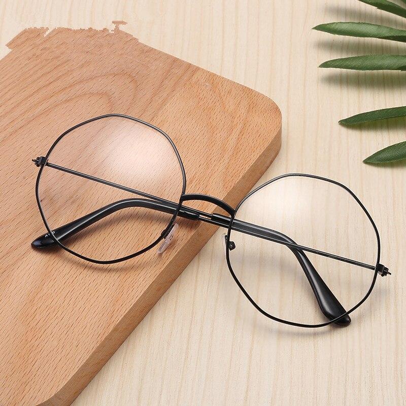 Men Vintage Anti Blue Light Clear Glasses Metal Frame Round Vision Care Classic Eyewear Women Lens Myopia Optical Mirror Eyewear