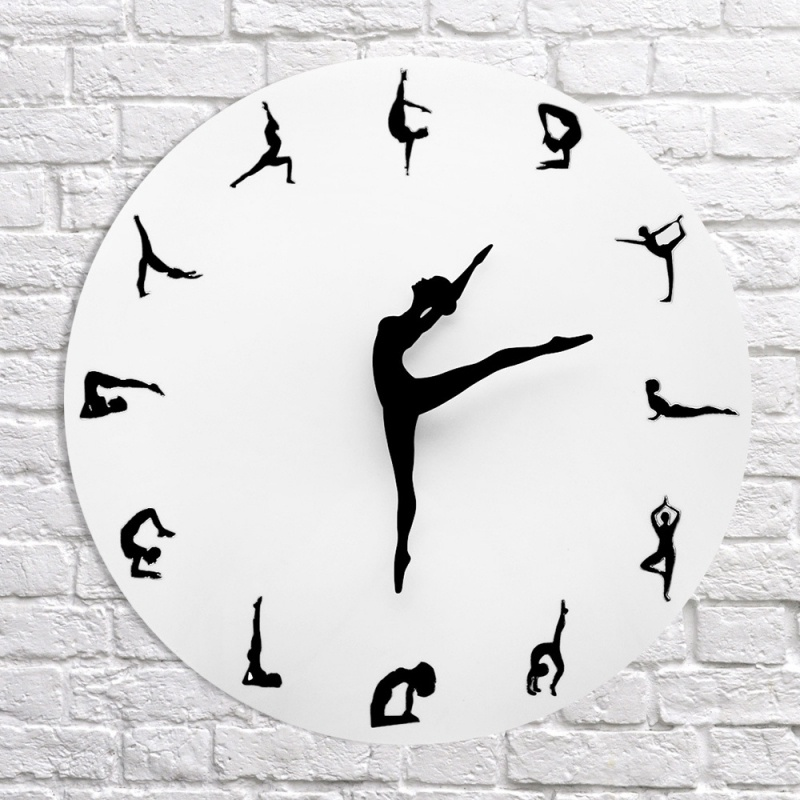 Fashion Mute DIY Wall Clock Living Room Background Decorative Wall Clock Creative DIY Yoga Pattern Clock