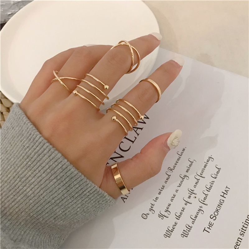 Joint ring female fashion personality light luxury six-piece set of niche design cold wind contracted ring tail quit tide