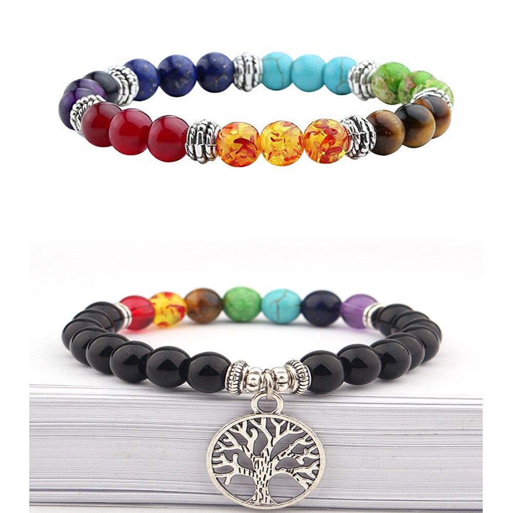Natural stone 7 chakra energy Buddha bead bracelet tiger eye stone Lapis Beaded tree of Life Pendant colorful Bracelet For Women
