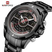 Luxury Brand NAVIFORCE Mens Watches Military LED Digital Sport Wrist Watches Business Steel strap Quartz Clock Relogio Masculino