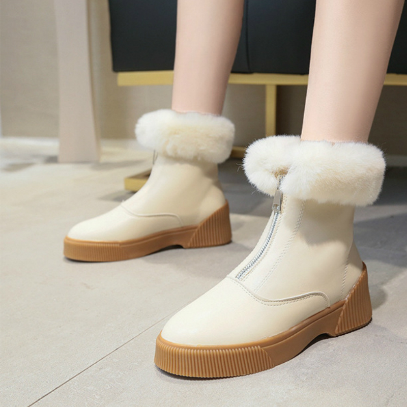 Women Short Ankle Boots Winter Plush Warm Thick Bottom Platform Round Toe Students Leisure Flat Ankle Snow Boots Botas Mujer 31
