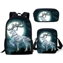HaoYun Fashion 3PCs Set Kids School Backpack Moon White Deer Pattern Book Bags Students Backpack/Flaps Bag/Pen