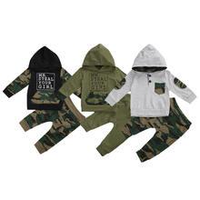 Осенний комплект одежды для маленьких мальчиков Топ с длинным