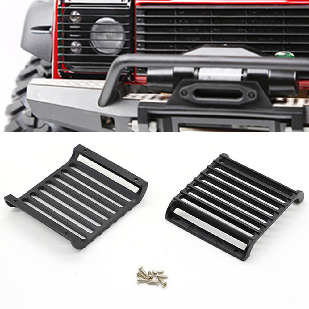 2Pcs 1 10 Protective With Screws Toy Simulation Headlight Grille Aluminium Alloy Light Front Guard Cover RC Car Parts For TRX4 in Parts Accessories from Toys Hobbies
