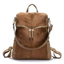 Vintage brand women backpack nubuck leather PU school backpacks for teenage girls large capacity shoulder bags for women 2019