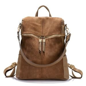 Image 1 - Vintage brand women backpack nubuck leather PU school backpacks for teenage girls large capacity shoulder bags for women 2019
