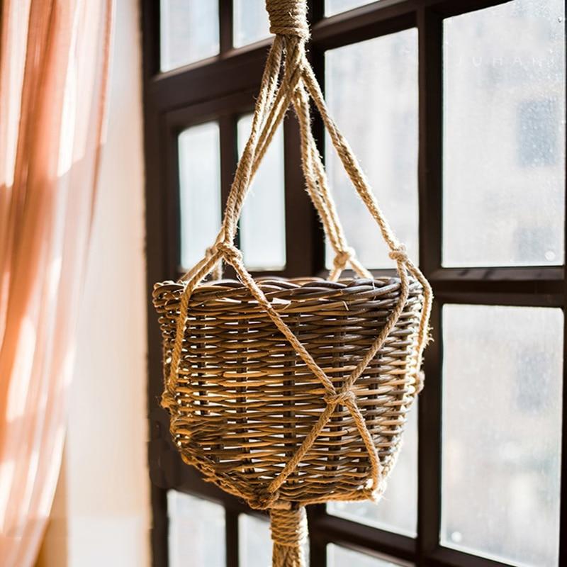 770/990mm Pot Hanging Hemp Rope Macrame Plant Flower Pot Hanging Holder Basket Home Vertical Garden Balcony Decoration