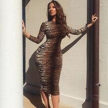 2019 new arrival women long dresses Leopard tight long-sleeved femme dress vestidos