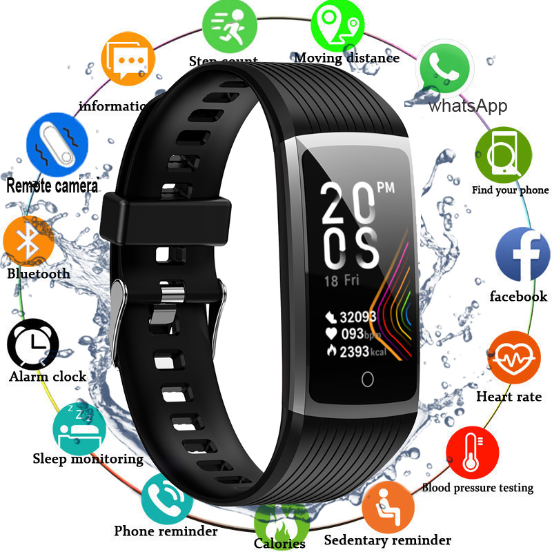 2020 1.14' Touch Screen Smart Fitness Bracelet Blood Pressure Measurement Fitness Tracker Smart Watch Smart Band Watch Women Men