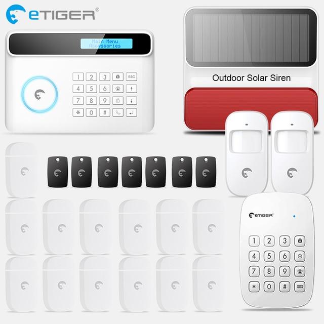 Etiger S4 Không Dây GSM/PSTN Nhà Trộm Hệ Thống Báo Động Cảm Biến Chuyển Động Báo Ngoài Trời có Còi Hú Bàn Phím